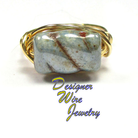 Antique Sage Luster Czech Art Glass Artisan Gold Tone Wire Wrap Ring All Sizes