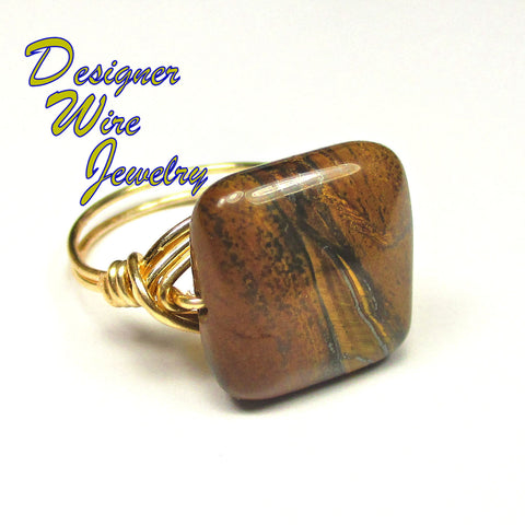 Natures Yellow Tiger Iron Gemstone Artisan Gold Tone Wire Wrap Ring All Sizes