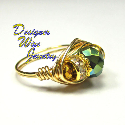 Beautiful Sage Green Faceted Crystal Artisan Gold Tone Wire Wrap Ring All Sizes