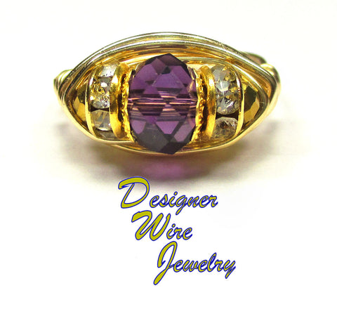 Breathless Lilac Purple Mist Crystal Artisan Gold Tone Wire Wrap Ring All Sizes