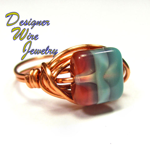 Southwest Navajo Sky Czech Art Glass Artisan Copper Wire Wrapped Ring All Sizes