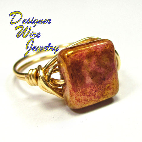 Chic Rose Gold Picasso Czech Art Glass Artisan Gold Tone Wire Wrap Ring All Sizes