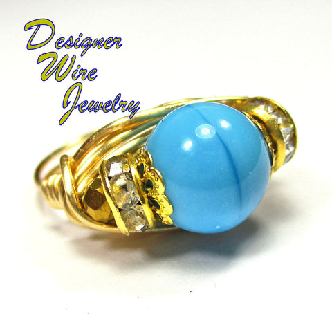 Beautiful Turquoise Czech Art Glass Artisan Gold Tone Wire Wrap Ring All Sizes