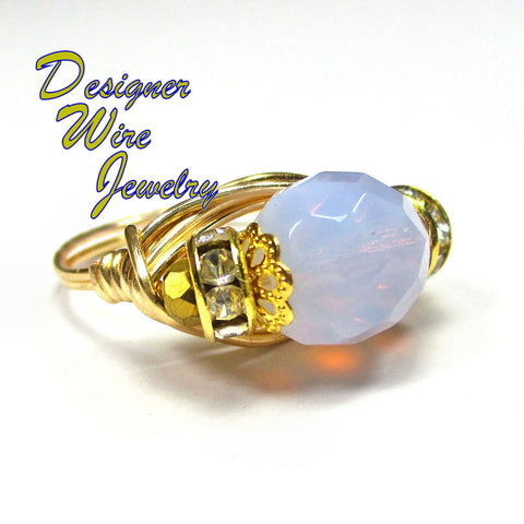Beautiful Faceted Violet Opal Crystal Artisan Gold Tone Wire Wrap Ring All Sizes