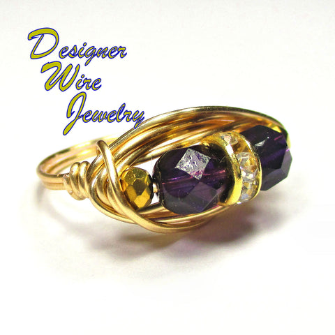 Chic Lilac Spring Czech Art Glass Duet Artisan Gold Tone Wire Wrap Ring All Sizes