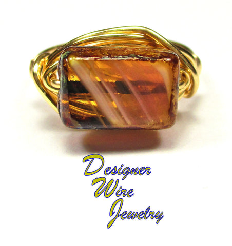 Beautiful Rust Picasso Czech Art Glass Artisan Gold Tone Wire Wrap Ring All Sizes