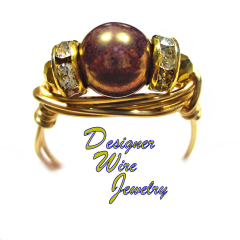 Bronze Smoky Czech Art Glass Solitaire Artisan Gold Tone Wire Wrap Ring All Sizes