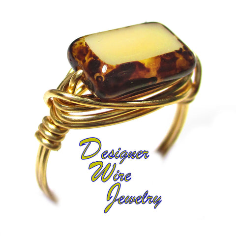 Almond Tortoise Shell Czech Art Glass Artisan Gold Tone Wire Wrap Ring All Sizes