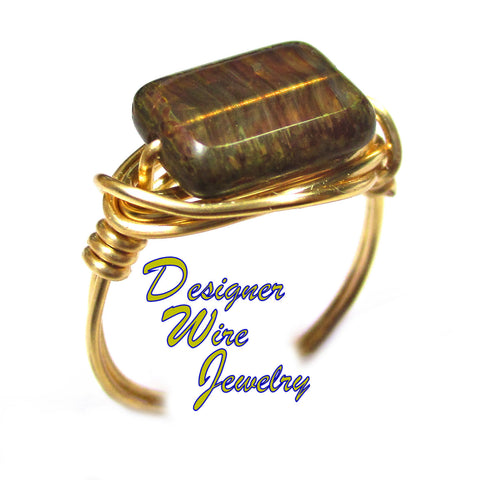 Beautiful Rustic Timber Czech Art Glass Artisan Gold Tone Wire Wrap Ring All Sizes