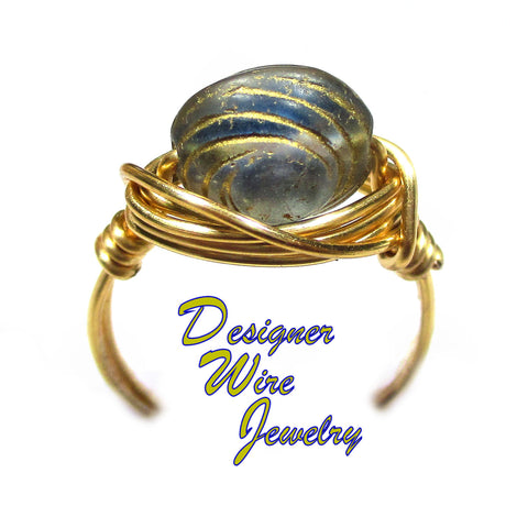 Blue and Gold Swirl Czech Art Glass Artisan Gold Tone Wire Wrap Ring All Sizes
