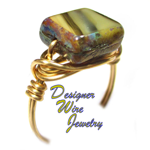 Balmy Beach Sands Czech Art Glass Artisan Gold Tone Wire Wrap Ring All Sizes