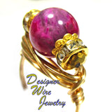 Ruby Crazy Lace Agate Gemstone Artisan Gold Tone Wire Wrap Ring All Sizes