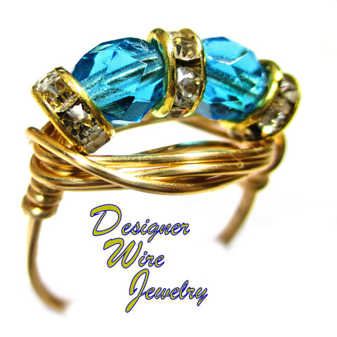 Aquamarine Czech Art Glass Duet Artisan Gold Tone Wire Wrap Ring All Sizes