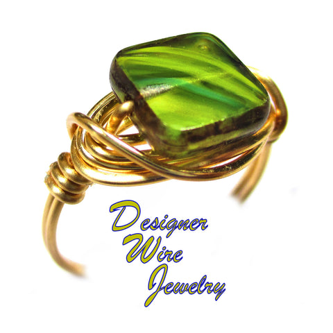 Amazon Jungle Green Czech Art Glass Artisan Gold Tone Wire Wrap Ring All Sizes