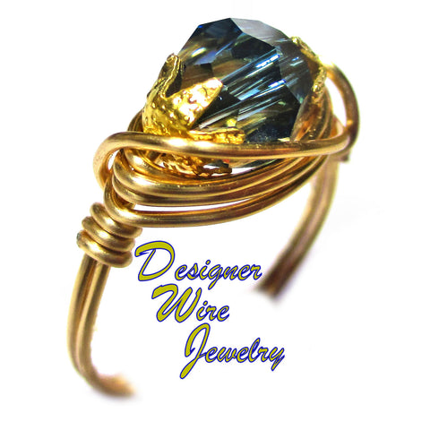 Swarovski Faceted Crystal Montana Blue Artisan Gold Tone Wire Wrap Ring All Sizes