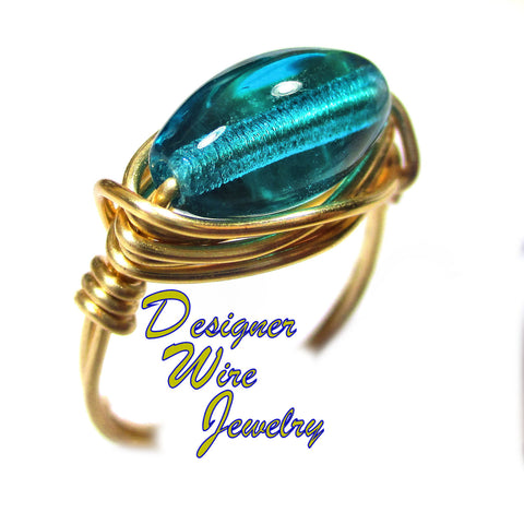 Beautiful Blue Zircon Czech Art Glass Artisan Gold Tone Wire Wrap Ring All Sizes