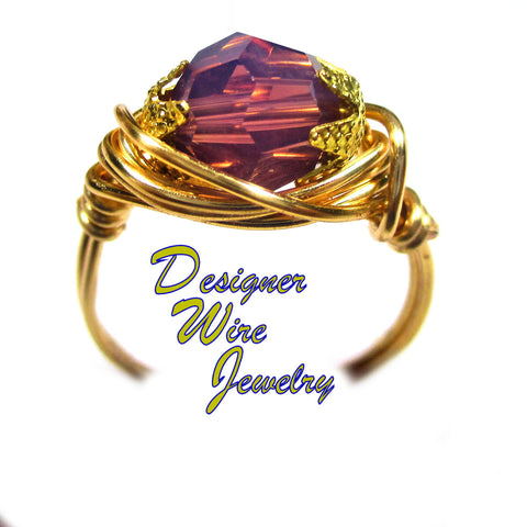 Swarovski Faceted Crystal Cyclamen Artisan Gold Tone Wire Wrap Ring All Sizes