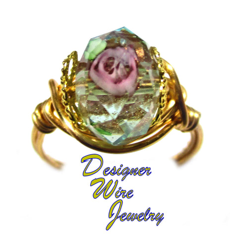 Romantic Faceted Crystal Olivine Rose Artisan Gold Tone Wire Wrap Ring All Sizes