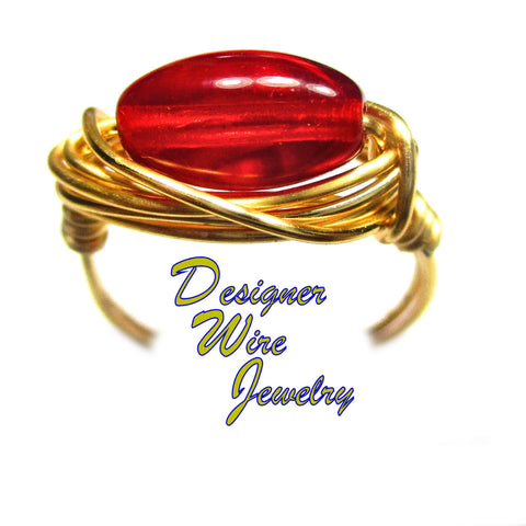 Czech Art Glass Cherry Red Oval Artisan Gold Tone Wire Wrap Ring All Sizes