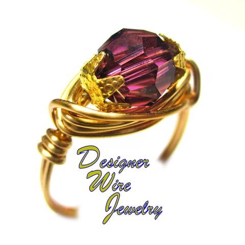 Summer Lilac Swarovski Faceted Crystal Artisan Gold Tone Wire Wrap Ring All Sizes