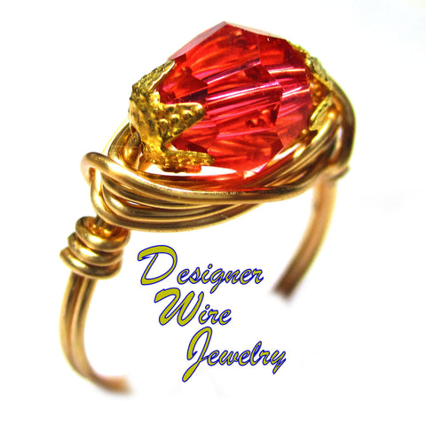 Tropical Pink Swarovski Faceted Crystal Artisan Gold Tone Wire Wrap Ring All Sizes