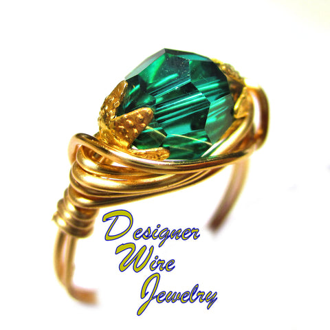 Swarovski Caribbean Green Crystal Artisan Gold Tone Wire Wrap Ring All Sizes