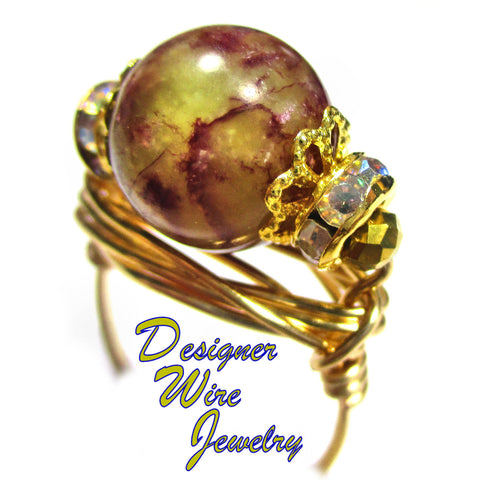 Berry Jungle Natural Jasper Gemstone Artisan Gold Tone Wire Wrap Ring All Sizes