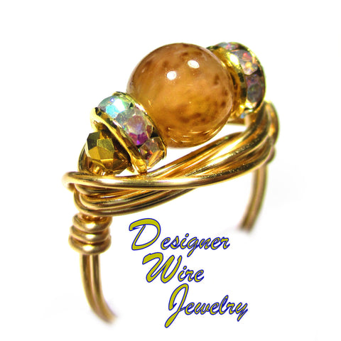 Amber Leopard Picasso Czech Art Glass Artisan Gold Tone Wire Wrap Ring All Sizes