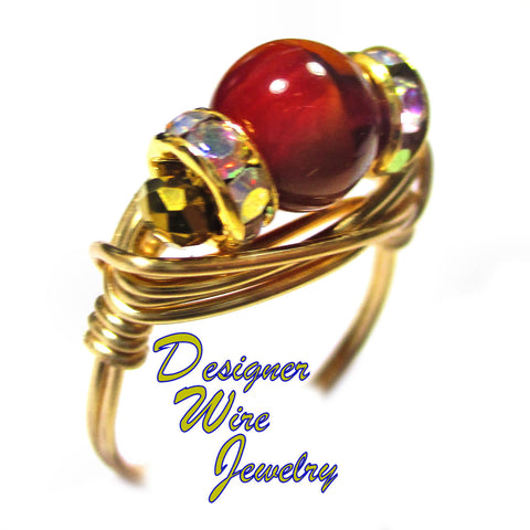 Burgundy Caramel Czech Art Glass Artisan Gold Tone Wire Wrap Ring All Sizes