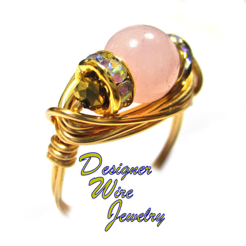 Beautiful Natural Rose Quartz Gemstone Artisan Gold Tone Wire Wrap Ring All Sizes