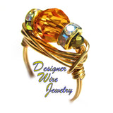 Swarovski Faceted Tangerine Crystal Artisan Gold Tone Wire Wrap Ring All Sizes