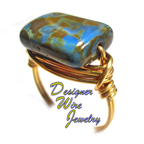 Beautiful Blue Bayou Czech Art Glass Artisan Gold Tone Wire Wrap Ring All Sizes