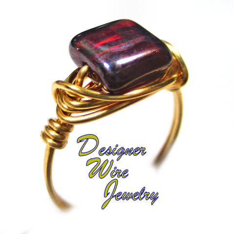 Beautiful Ruby Picasso Czech Art Glass Artisan Gold Tone Wire Wrap Ring All Sizes