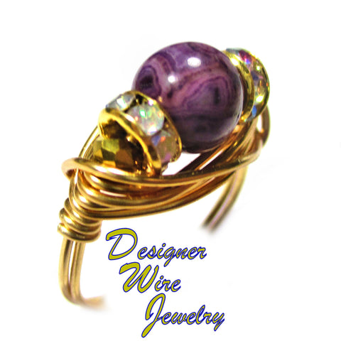 Gorgeous Purple Crazy Lace Gemstone Artisan Gold Tone Wire Wrap Ring All Sizes
