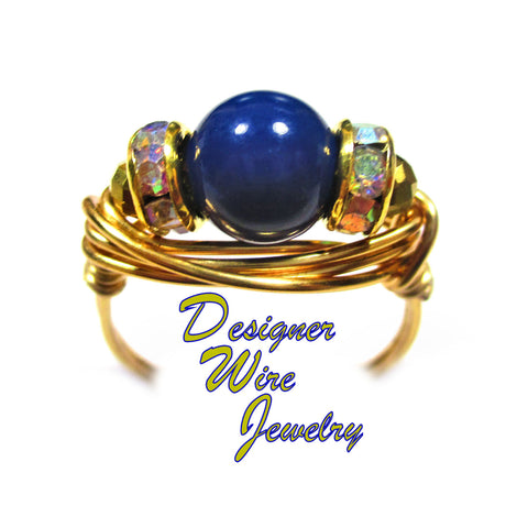 Dark Lapis Blue Swarovski Pearl Artisan Gold Tone Wire Wrap Ring All Sizes