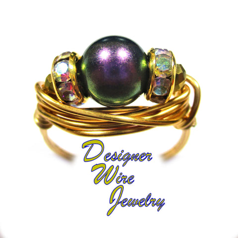 Aqua Blue Crazy Lace Jasper Gemstone Artisan Gold Tone Wire Wrap Ring All Sizes