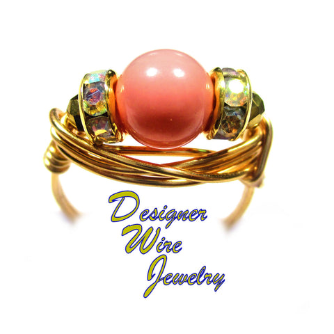 Stunning Coral Pink Swarovski Pearl Artisan Gold Tone Wire Wrap Ring All Sizes