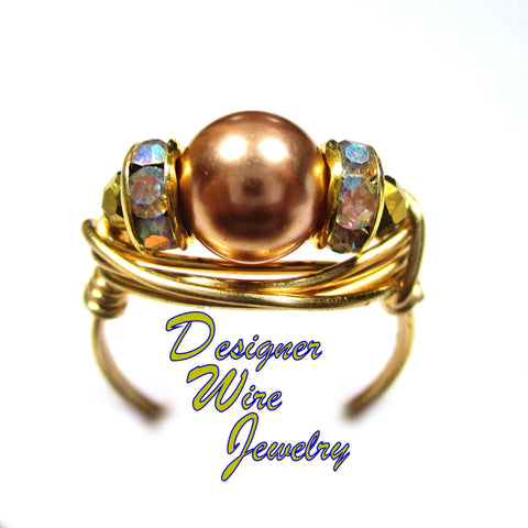 Stunning Rose Gold Swarovski Pearl Artisan Gold Tone Wire Wrap Ring All Sizes