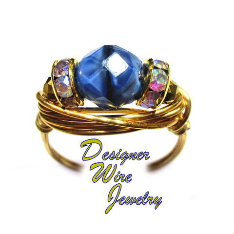 Blue Tiger Eye Czech Art Glass Solitaire Artisan Gold Tone Wire Wrap Ring All Sizes
