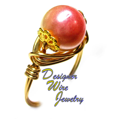 Rich Pink Crème Czech Art Glass Pearl Artisan Gold Tone Wire Wrap Ring All Sizes