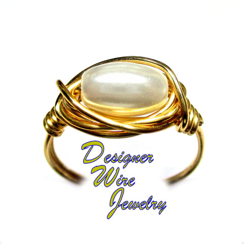 Elegant Czech Art Glass Pearl Solitaire Artisan Gold Tone Wire Wrap Ring All Sizes