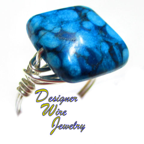 Beautiful Blue Daisy Jasper Gemstone Artisan Silver Plate Wire Wrap Ring All Sizes
