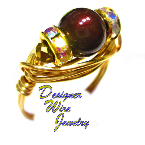 Genuine Swarovski Maroon Pearl Artisan Gold Tone Wire Wrap Ring All Sizes