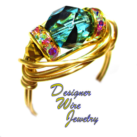 Stunning Teal Tortoise Czech Art Glass Artisan Gold Tone Wire Wrap Ring All Sizes