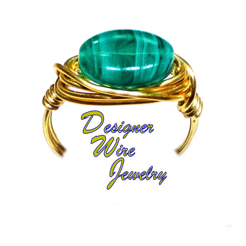 Lovely Emerald Teal Swirl CZ Art Glass Artisan Gold Tone Wire Wrap Ring All Sizes