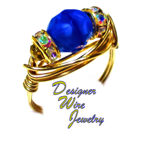 Blue White Frost Czech Art Glass Artisan Gold Tone Wire Wrap Ring All Sizes