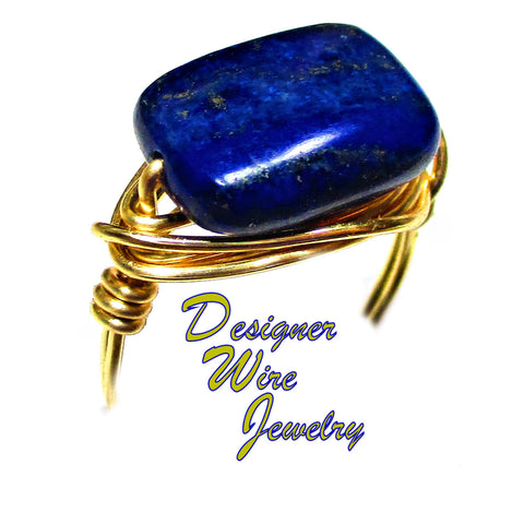Celestial Blue Lapis Lazuli Gemstone Artisan Gold Tone Wire Wrap Ring All Sizes