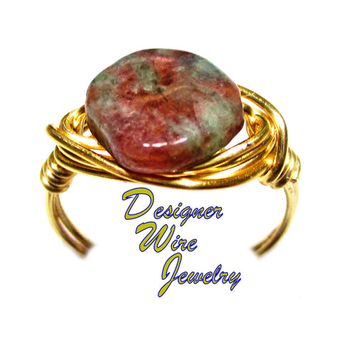 Natural Ruby & Green Quartz Gemstone Artisan Gold Tone Wire Wrap Ring All Sizes