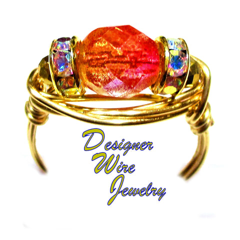 Faceted Sunset Fire Czech Art Glass Artisan Gold Tone Wire Wrap Ring All Sizes