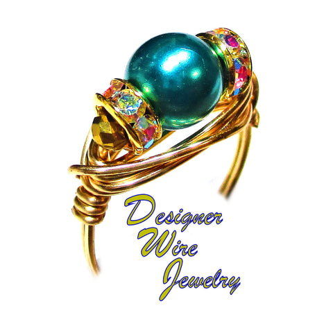 Stunning Genuine Teal Swarovski Pearl Artisan Gold Tone Wire Wrap Ring All Sizes